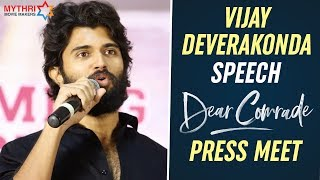 Vijay Deverakonda Emotional Speech | Dear Comrade Press Meet | Rashmika Mandanna | Bharat Kamma