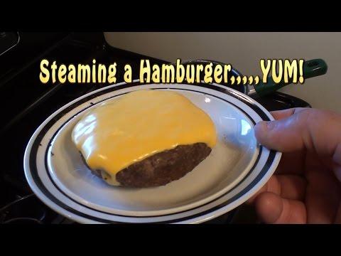 Man-Cooking. Steaming Frozen Hamburger Patties. YUM.