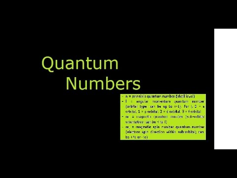 Quantum Numbers for Electrons