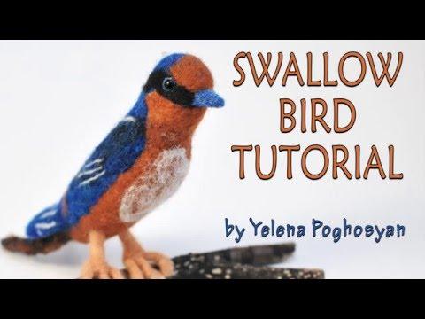 Needle felting tutorial - Needle felting a barn swallow bird