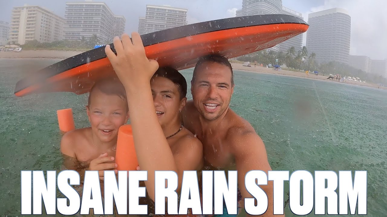 FAMILY CAUGHT IN INSANE TROPICAL STORM WHILE SWIMMING IN THE OCEAN | LIGHTNING THUNDER & HEAVY RAIN