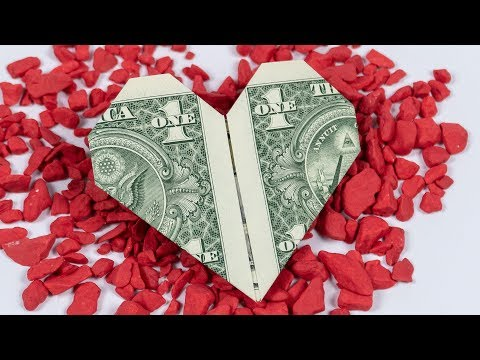 MONEY Origami HEART folding, easy instructions in English and 4K