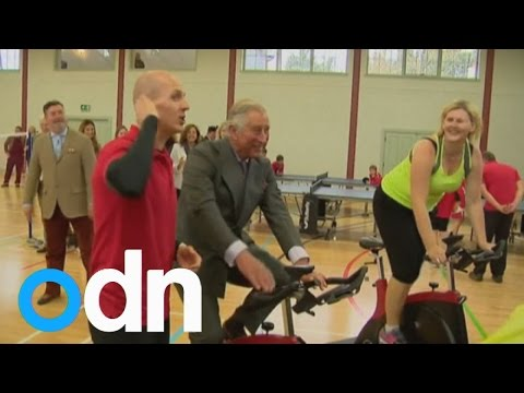 Prince Charles takes part in spin class at Scotland sports centre