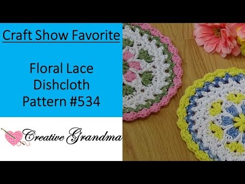 Floral Lace Dishcloth  Crochet Tutorial