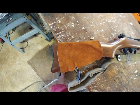 Making leather stock cover for a 1022