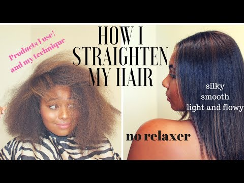 CURLY to STRAIGHT /FRIZZY to SILKY/ How to flat iron natural hair | Tutorial