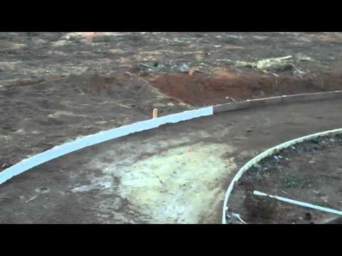 Pouring a concrete walkway