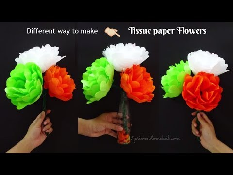 How to make tissue paper flower-Very easy method, #Diy spring room decor