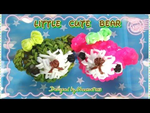 Diy loom bands bear charm rainbow loom tutorial 彩虹橡筋小熊編織教學