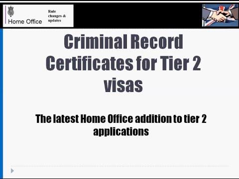 Criminal Record Certificates for Tier 2 visas