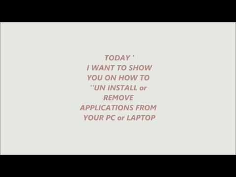 How to uninstall applications in your laptop or pc
