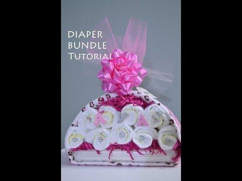 Tutorial: Diaper Stork Bundle Easy Baby Shower Gift