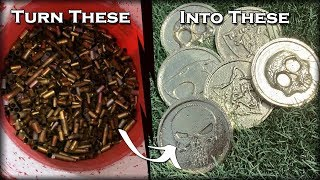 Casting DOUBLE Sided Coins From Scrap Bullet Casings - Melting Brass At Home