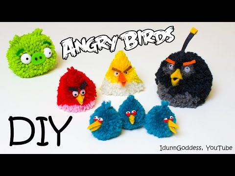 DIY Angry Birds Toys – How To Make Angry Birds Fluffy Pom-pom Toys