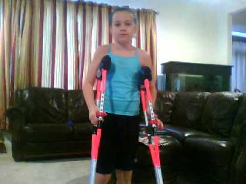 playing with crutches, kids... not a smart thing to do