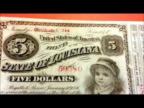$5 1875 Bond Certificate Note - State of Louisiana - US CURRENCY COLLECTION