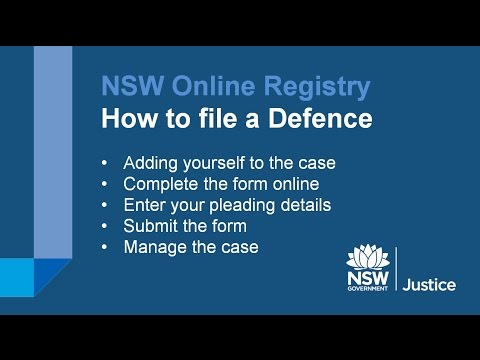 NSW Online Registry - How to complete a defence for a claim made against you