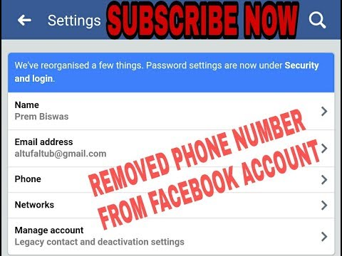How to remove phone number from Facebook account.