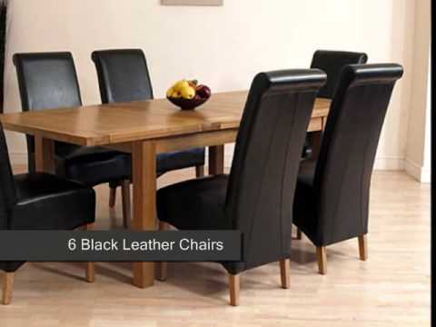 Seattle Solid Oak Dining Table & 6 Black Leather Chairs