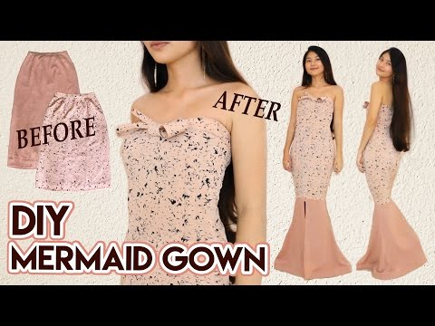 DIY Turn Skirts Into Mermaid Gown | Long Dress for Party / Prom / Wedding | Clothes Transformation