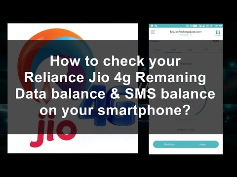 How To Check Reliance Remaining Jio 4g Data Balance and SMS Balance