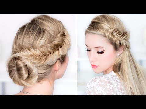 Prom/wedding/party hairstyles ★ Easy DAY to NIGHT udpo ★ Fishtail braid updo hair tutorial