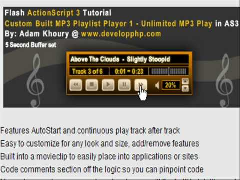 Flash AS3 MP3 Playlist Player Tutorial 1.0  for CS3+CS4 Play Unlimited MP3s