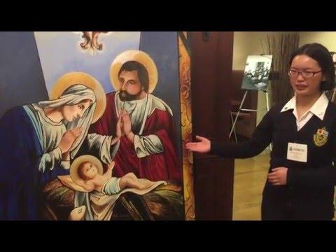 Toronto Catholic Student at Queen's Park - Explains Nativity Artwork