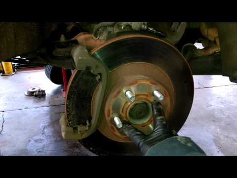 Front brake pad replacement 2003-2014 Subaru Outback Legacy caliper Install, remove or replace rotor