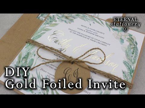 DIY Gold foil Wedding Invitations | Rustic Watercolour Succulents | How to gold foil | Minc