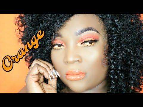 Dark Skin || Orange Makeup Look