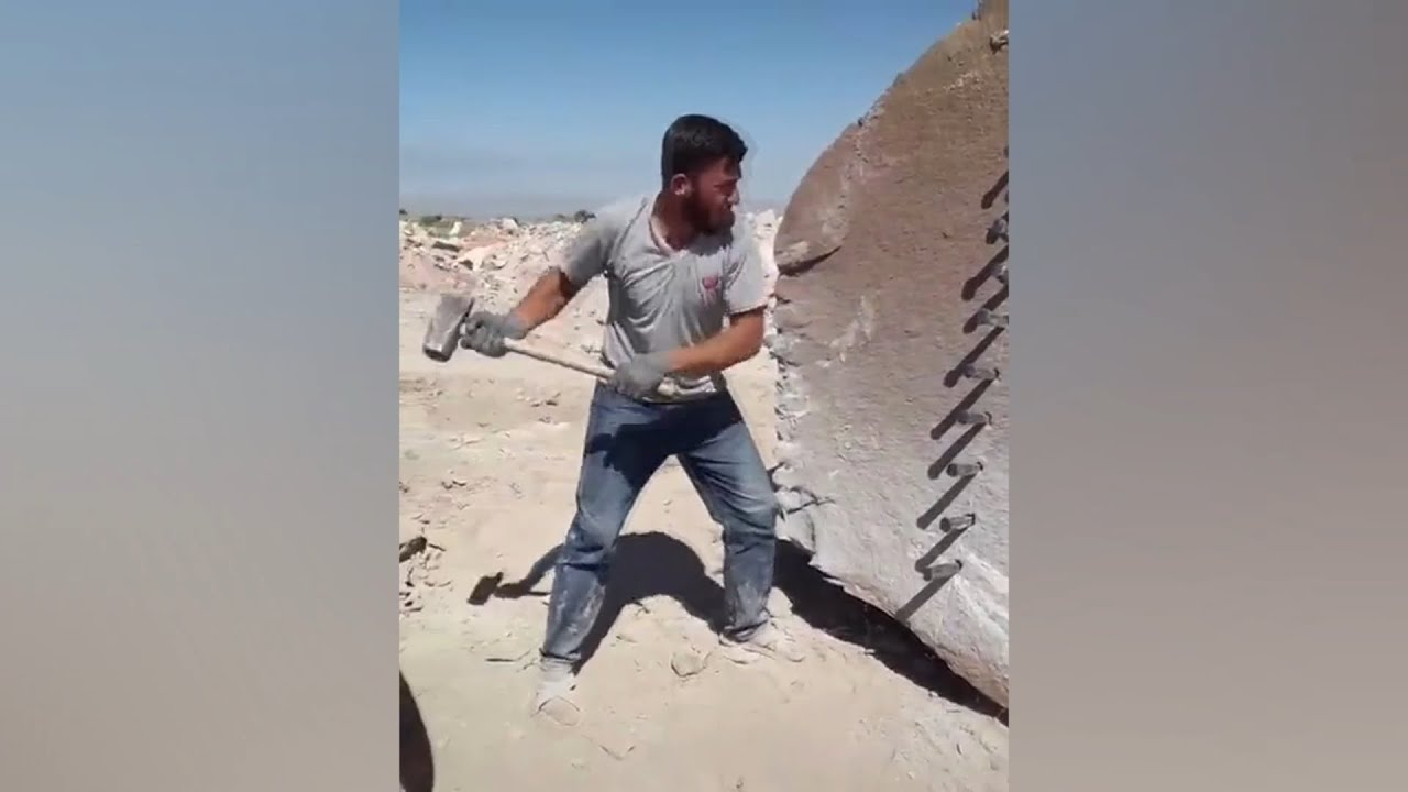 Rock cutting, using only hammer