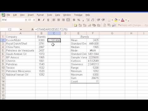 Standardized Z score Using Excel