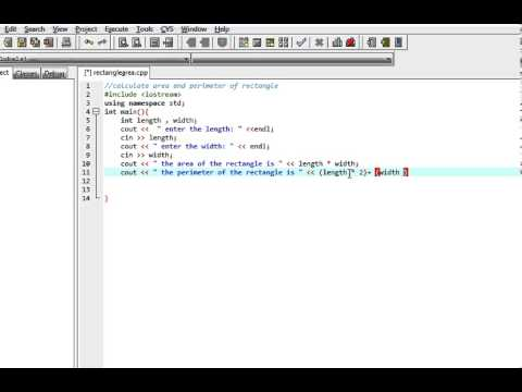 C++ program: Calculate area and perimeter of a rectangle
