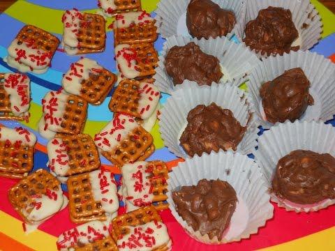 Holiday Treats: Crockpot Peanut Clusters & Candy Bar Pretzel Bites