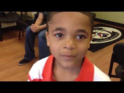 6 year old Elijah wins barbershop BACKFLIP contest vs Adult