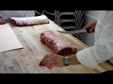 Striploin into portion cuts