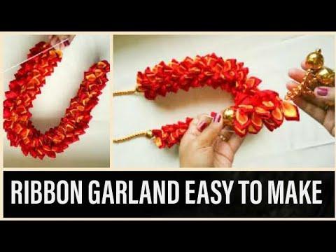HOW TO MAKE EASY RIBBON GARLAND/RIBBON MAALA FOR DIWALI POOJAS & DECORATIONS