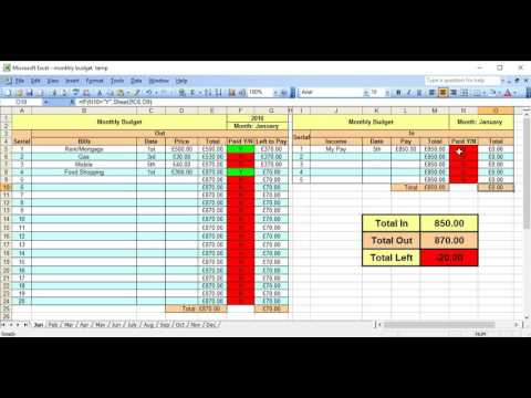 Monthly Budget Planner; How to Use