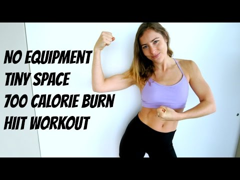 700 Calorie NO EQUIPMENT HIIT for TINY SPACES