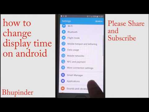 how to change display time on android
