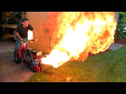 Dirt/Doodle Bug Mini Bike Custom Flamethrower Exhaust - Testing New Spray Bottle (1080p)