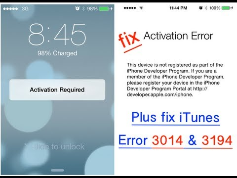 How To Fix iOS 7 Activation Required & iTunes 3014 & 3194 Error