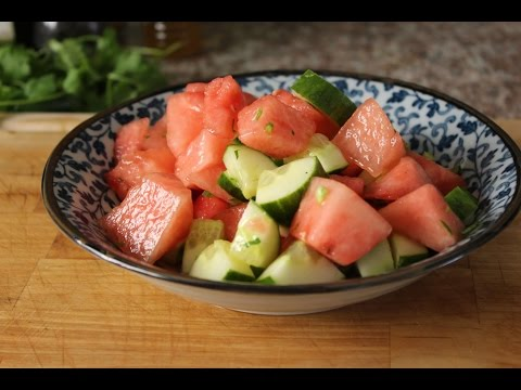 Watermelon, Cucumber and Jalapeno Salad with a Tequila Kick