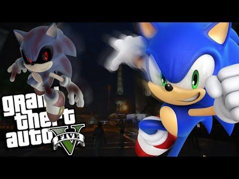 GTA 5 Mods - EVIL SONIC.EXE VS SONIC MOD (GTA 5 PC Mods Gameplay)