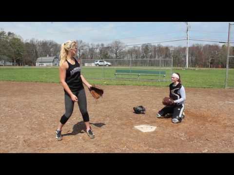 Southwick High School softball pitcher Emily Lachtara shows how to throw a curveball