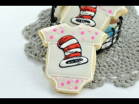 How To Make Dr.Seuss Hat Baby Onesie Cookies, Baby Shower