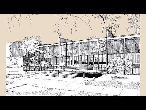 Architecture Sketch #006 S. R. Crown Hall designed by Mies van der Rohe