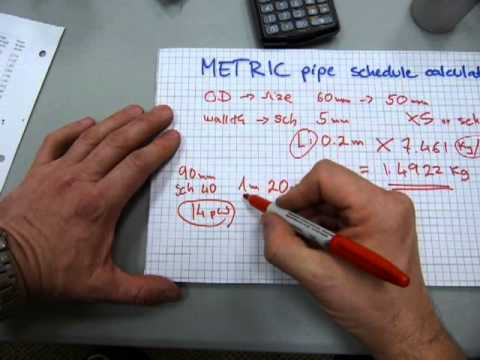 Pipe weight/water calculation in METRIC