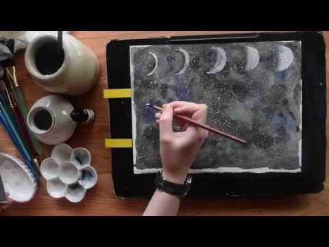 Speed painting ~ Watercolor Phases of the Moon